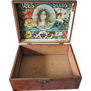 Antique Advertising Rice's Seed Box with Original Color Label