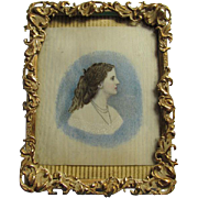 Antique Miniature Painting of a Lovely Lady, Watercolor