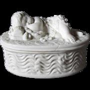 c1880s Victorian Parian Porcelain Sleeping Baby Box