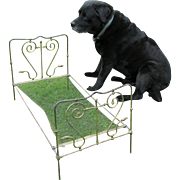 Charming Antique Victorian Era Doll or Dog Bed with Dog Head Finials