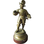 19th Antique Bronze Sculpture of a Soldier, Marble Base