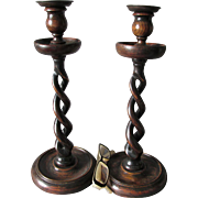 SOLD Pair Tall Antique English Treen Wood Barley Twist Candlesticks