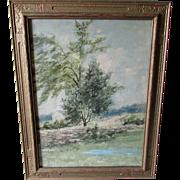 SOLD Arts & Crafts Watercolor Painting of Dedham MA Landscape, Carpenter