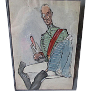 Original Caricature Watercolor Painting & Ink, of Military Officer