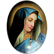 Lovely Antique Hand Painted German Porcelain Plaque of the Madonna
