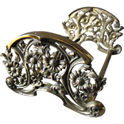 Antique Art Nouveau Expanding Bookends with Pretty Daisy Flowers