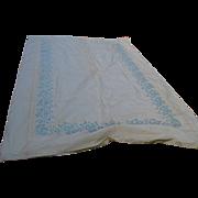 Elegant 1950s Italian Silk Taffeta Embroidered Fabric Sample, Bedspread