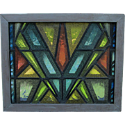 SOLD Cool Mid Century Modern Stained Glass Window