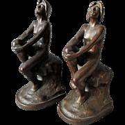 SOLD Rare c1920s Art Nouveau, Art Deco Armor Bronze Nude Lady Bookends