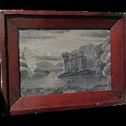 Ethereal Landscape, Folk Art Sandpaper Charcoal Drawing  in Ogee Frame