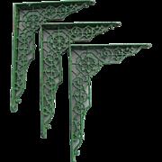 SALE PENDING 3 c1880 Victorian Architectural Shelf Brackets for Long Shelf