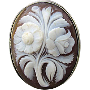 SOLD Lovely Antique Hand Carved Shell Cameo with Flowers