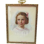 SOLD Pretty Miniature Painting, Little Girl Listed Artist, Aime Dupont