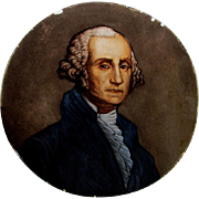 SOLD Antique Stained, Enamel Glass Window Panel of George Washington