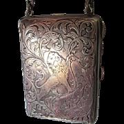 Antique Sterling Silver Compact Handbag with Lion, Blackinton