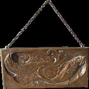 SOLD Lovely Antique Art Nouveau Bronze Bas Relief Plaque with Fish