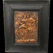 Antique Repousse Copper Plaque of a Renaissance Couple