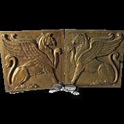 SOLD Pair Architectural Bronze Gothic Plaques of Griffin, Gargoyles