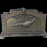 Lovely Gilt Art Nouveau Desk Letter Holder with Pheasant Bird