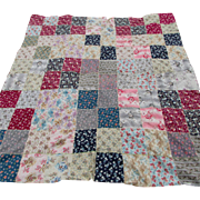 Pretty c1910-20s Flannel Crazy Quilt Top with Floral Motif