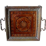 Antique Victorian Aesthetic Bronze Tray with Mintons Tile