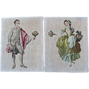 Pair Vintage Petit Point & Needlepoint Panels with French Couple