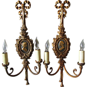 Pretty Pair of Light Sconces with Ladies Portraits