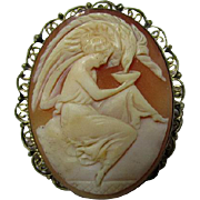 Lovely Antique Cameo of Hebe Feeding Zeus' Eagle, Mythology Brooch & Pendant
