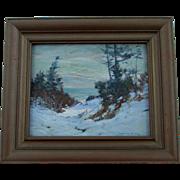 Listed Artist Alexander Bower Impressionistic Winter Landscape
