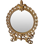 Antique French Fleur de Lis Vanity, Dressing Mirror, Picture Frame