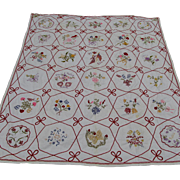 SOLD Fine Antique Embroidered Summer Quilt, Bedspread