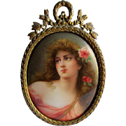 SALE PENDING KPM, Royal Vienna Plaque of Beautiful Woman with Roses signed Wagner