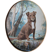 SOLD Nice Antique Watercolor Painting of a Dog
