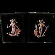 Pair 19thC Patinated Bronze Plaques of German Renaissance Couple