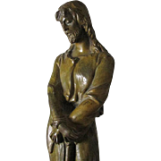 Lovely Antique Bronze Sculpture of a Gentleman in Robe, Possibly Jesus
