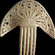 Big c1920s Art Deco Celluloid Hair Comb, Mantilla Comb