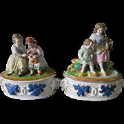 Pair c1870s Victorian Fairing Vanity Boxes, Cat & Children