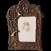 SALE PENDING Antique Victorian, Art Nouveau Picture Frame with Fairy & Cherub