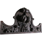 Hand Carved Victorian Architectural Wood Plaque with Fruit & Foliage