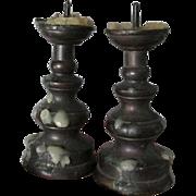 SOLD Rare Pair Antique Miniature Brass Pricket Candlesticks