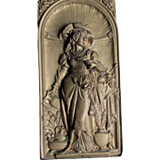 SOLD 19th Antique Victorian Repousse Plaque of Renaissance Lady