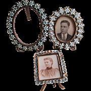 SOLD 3 Antique Miniature Picture Frames with Glass Fleur de Lis, Flowers