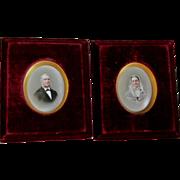 SOLD PR Dresden Miniature Porcelain Plaques, Portraits Signed Franz Till