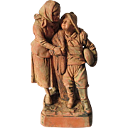 Antique French or German Terra Cotta Sculpture with Child