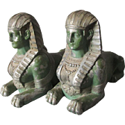 SOLD Pair c1920s Art Deco, Egyptian Revival Sphinx Bookends