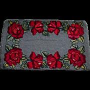 Vintage Red Rose Hand Hooked Rag Rug