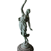 19thC Victorian Nude Lady Sculpture, Lamp, Newel Post Finial