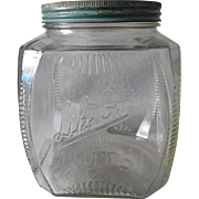 Antique Advertising Lik-Em Nuts, Store Display Jar