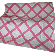 SALE PENDING Antique Pink & White Patchwork Quilt, Hand Quilted