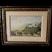 SALE PENDING Antique European Watercolor Painting of Castle & Village,  Landscape